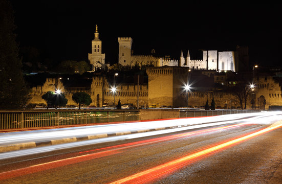 View of Avignon at night, France