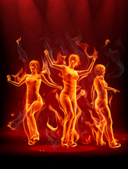 Foto op Aluminium Vlam Dancing fire girls