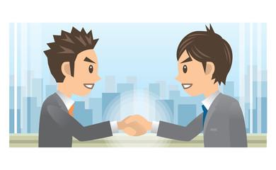 ビジネスマン A 握手 ビル