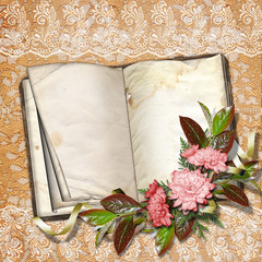 Page for photo or invitation on the vintage background.