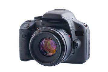 Digital SLR camera isolated over white background