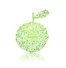 ecology pattern on apple silhouette