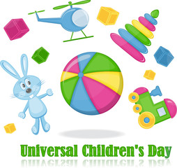 Different toys around the ball, universal children's day