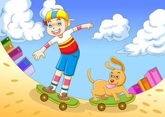 Tuinposter Honden the boy in skateboarding