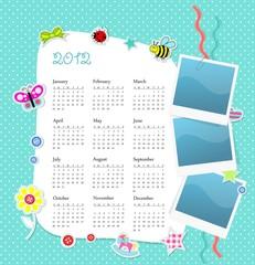 Vector calendar 2012 in boy scrapbook style