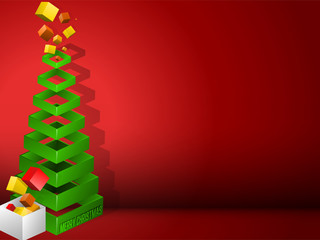 Christmas Tree Geometric Pyramid with Gifts
