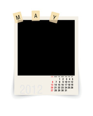 2012 may calendar with blank photo frame