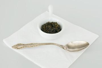 Caviar and silver spoon