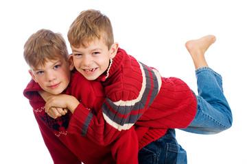 Young boys having fun