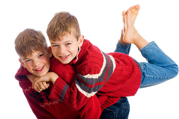 Two young boys having fun