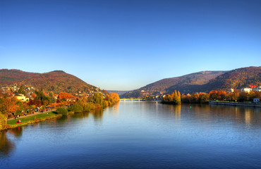 Autumn in old town, castle and city bridge in Heidelberg