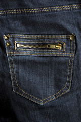 dark blue jeans zip pocket