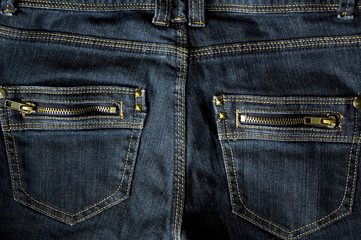 two zip pocket blue jeans