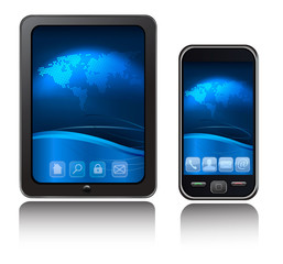 A tablet computer and mobile phone with blue background. Vector