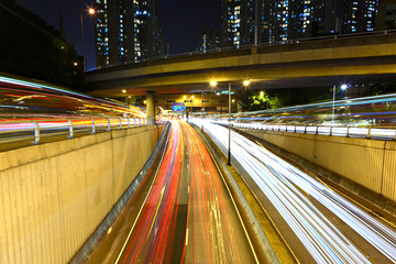 traffic at night in city