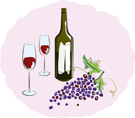 Bottle of red wine with a glass and a brush of grapes. Vector il