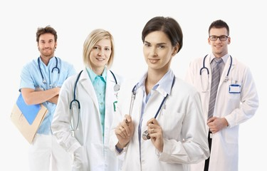 Medical doctors on white background, portrait