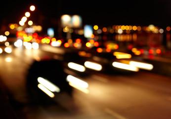 Traffic lights of the city. Defocused