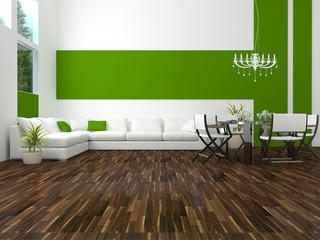 interior design of modern green living room
