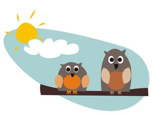 Tuinposter Vogels, bijen Funny owls sitting on branch on a sunny day vector illustration