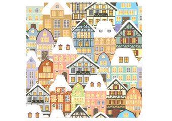 Old houses seamless pattern