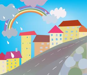 Poster Regenboog Funny city cartoon for kids with rain