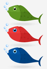Icon of fish in three variants. A vector illustration