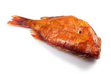 smoked fish on white background