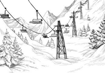 Mountain ski lift chairs pencil drawing