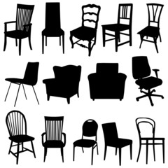 chair art vector illustration in black color