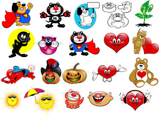 Vector set cartoon. Funny pictures for your design