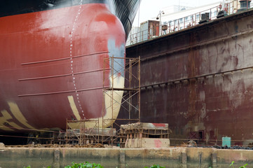 Detail of ship in a floating dock