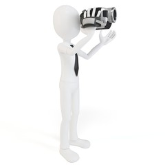 3d man with video camera