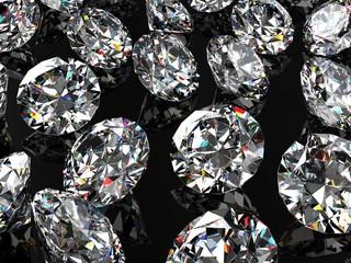 Diamonds on the black glossy surface