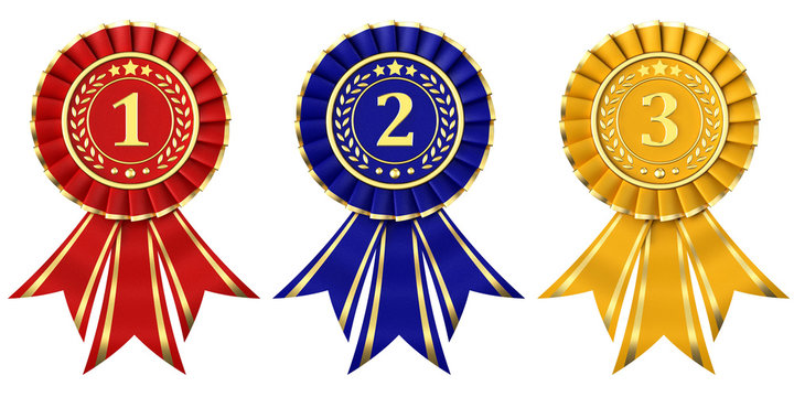 Ribbon awards for first, second and third place