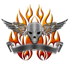 Skull with Wings Flames and Banner