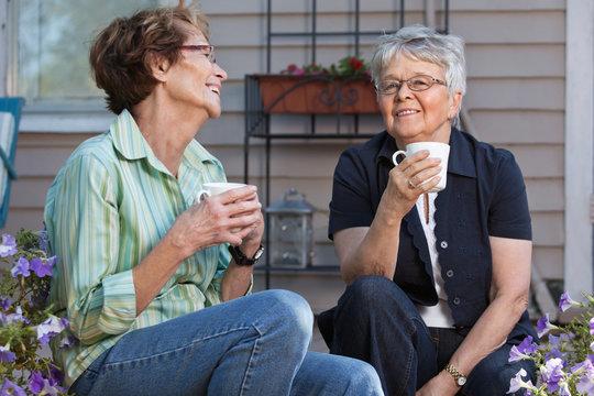 Women having cup of tea