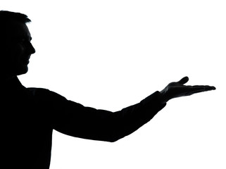 one business man silhouette empty hand open