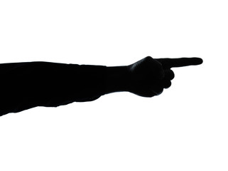 close up detail one man hand pointing  silhouette