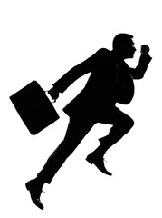 one business man jumping running silhouette