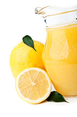 fresh lemon and lemonade