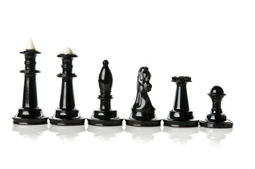 macro photo of all black chess pieces