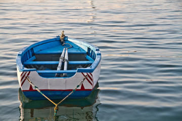 rowing boat in the port