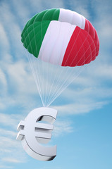 Parachute with the Italian flag on it holding a Euro symbol