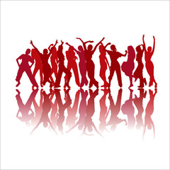Red dancing silhouettes