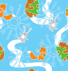 Pattern with happy new year`s animals: fox, hare, bear