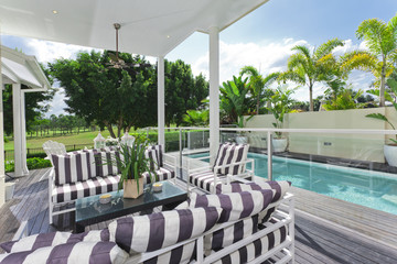 Outdoor deck and swimming pool