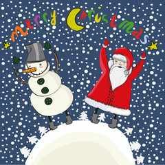 cartoon christmas Santa and snowman