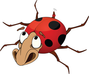 Sad ladybird from a fairy tale. Cartoon