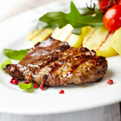 Grilled beefsteak with grilled vegetables